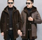 Men Hooded Mid Long 100real Leather Cashmere Sheared Lambswool Parka Outwear Sz