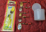 Vintage Mepps Syclops 3 Chartreuse New And 5 Spinner Fishing Lures Hooks Aglia