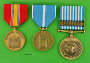 Korean War Service 3 Medal Set Army Navy Air Force Marine - Made In The Usa