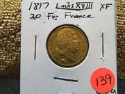 1817 Gold 20 Franc-louis 18th--shipping Included