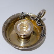Antique Victorian Sterling Silver-gilt Inkwell London 1837 John Tapley