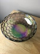 Vintage Carnival Glass Bowl Iridescent Blue With Amethyst Bubble Pattern