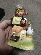 Vintage Designed By Erich Stauffer Girl W Accordion Numbered 55/511 Figurine