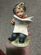 Vtg 1950s Porcelain Figurine Boy Reading Paper Disigned By Erich Stauffer