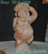 Chinese Hetian Old Jade Primitive People Woman Pregnant Woman Comb Makeup Statue