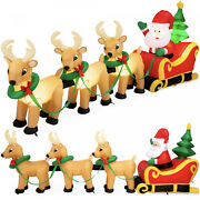 Lighted Inflatable Santa Claus And Reindeer Outdoor Christmas Decoration - 9ft