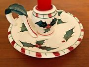 Lefton Christmas Holly Berry Finger Loop Candle Holder Hand Painted Bonus Candle