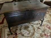 17 Century German Bible Boxside Carved With Arch Design, Iron Base