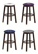 Wood Bar Stool Nfl 24 Tall Team Logo Decal On Colored Vinyl Man Cave Game Room