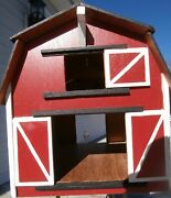 Toy Wooden Barn Hand Made Hand Painted With Ponies Used Very Good Conditionandnbsp