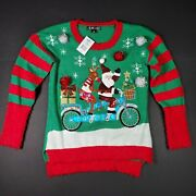 United States Sweaters Holiday Christmas Sweater Santa And Rudolf Ugly Sweater