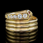 Antique Edwardian Old Cut Diamond Snake Ring 18ct Gold Dated 1916