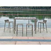 Stone Indoor/outdoor Bar Table, Recycling Teak Wood And Brushed Stainless Ste...