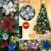 10x Christmas Large 11cm Poinsettia Glitter Flower Tree Hanging Party Decor Nice