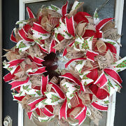 Old Fashioned Country Farmhouse Christmas Tree Deco Mesh Front Door Wreath Decor
