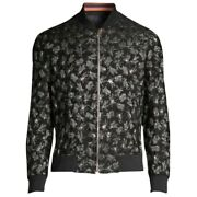 New Paul Smith Menand039s Xl Black Lurex Bug Embroidery Bomber Jacket -1385129