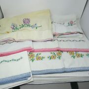 Vintage Lot Of 6 Pillowcases Embroidery And Crochet Edging No Pairs