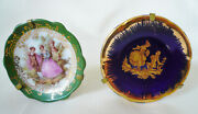 Limoges Fragonard Courting Couple Miniature Plates And Stands Cobalt Green