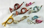 Vintage / Antique, Lot Of 10, French Horns, Glass Christmas Holiday Ornaments