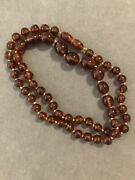 Dv1048-antique Gorgeous Chinese Amber Bead Necklace