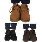 Mens Winter Ankle Snow Boots Faux Fur Lined Warm Outdoor Indoor Casual Shoes