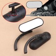Universal Black Mini Oval Micro Rear View Side Mirrors Pair For Harley Road King