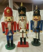 Lot Of 3 Vintage Wooden Soldier Christmas Nutcrackers Hand Painted, Vguc