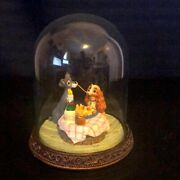 Disney Lady And The Tramp Glass Dome Cloche Case Vintage Figurine Trophy Display