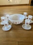 1930s Mckee Vtg Tom And Jerry Bowl And Mugs Milk Beaded Glass Red Snowflake Set