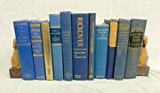 Decorative Staging Blue And Gold Lettering Home Décor Vintage Book Lot Of 11