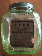 """Green Depression Glass Canister Jar - 6 1/2"""" Tall And 5"""" Wide"""