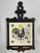 Vintage Cast Iron Trivet Hot Pot Holder Hand Painted Good Morning Rooster Coffee