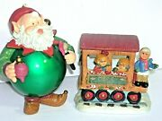 Christmas Train Car With Santa And Children Village Accessories Decorations