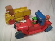 Vintage 1971 Mattel Wooden Truck And Car With People - Take A Part Puzzle -