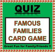 And039famous Familiesand039 Pub Quiz Trivia Card Game Table Fun Families/friends/zoom