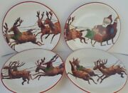 Williams Sonoma Set Of 4 Santa And His Reindeer Salad Plates New In Box 2011