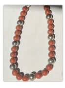 Antique Orange Turquoise Beaded Necklace With Solid Silver Beads From Japan