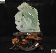 Chinese Natural Green Jade Xiuyu Carved Lucky Animal Fish Goldfish Lotus Statue