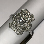 18ct W Gold And Diamond 0.48cts Vintage Style Ring