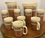 Vtg Thermo Serv 1981 Insulated 10 Piece Beverage Set In Border Rose Mcm Usa