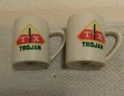 Tx Trojan Porcelian Salt And Pepper Shakers Seed Corn. Agriculture Advertising
