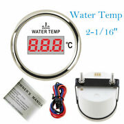 52mm 2-1/16 Water Temp Gauge 287.4-22.4ohm 40-120c For Cars Boats Truck Red Led