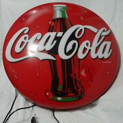 Vintage Coca-cola 24andrdquo Lighted Button Sign Bottle New Old Stock German Rare