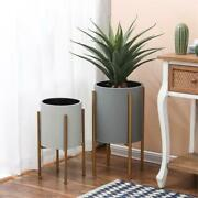 Luxen Home 2-piece Gray Round Metal Planters And Gold Stand