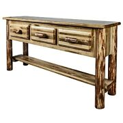 Log Entry Way Foyer Table With 3 Drawers Amish Made Handcrafted Cabin Furniture