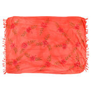 Sarong/pareo/wrap - Coral/pink / Handpainted Flowers -hary Dary Handmade In Bali