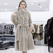 Women Natural Real Mink Fur Coat Winter Thick Overcoat Female Belted Outerwear
