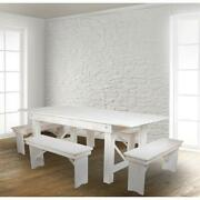 Hercules Series 7and039 X 40 Antique Rustic White Folding Farm Table And Four...