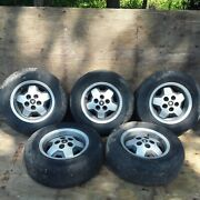 1987 Jaguar Xjs V 12 Rims Set Of 5 With Tires. Tires Are Worn Out