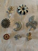 Lot Of 8 Vintage Brooch Pins Roses Rhinestones Black And White Lily Daisy